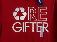 mens Christmas Old Navy Re-Gifter red shirt, short sleeve S, M, L