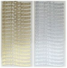 MERRY CHRISTMAS Peel Off Stickers 18 x Gold or Silver Clear Sticker