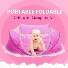Foldable travel Bed Baby Crib 0-3 Years Pillow  Set Portable Folding Bed with Ne