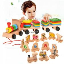 Toddle Baby Kid Wooden Toys Stacking Train Geometric Stacker Building EA77