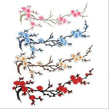 Iron on Craft Applique Motif Embroidered Beautiful Flower Patch Hot Plum Blossom