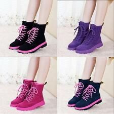 4 Colors Women Girls Faux Suede Lace Up Flat Heel Ankle Boots Snow Boots Shoe