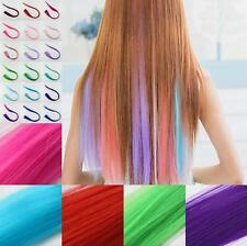 Long Straight Clip Piece Women Hair Extensions Multi Color Charm Synthetic New