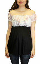 Black Pink Lace Design Womens Maternity Blouse Off shoulder Blouse Top Victorian
