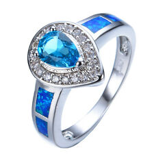 Blue Opal Jewelry 10KT White Gold Filled Heart Aquamarine Engagement Ring Sz 6-9
