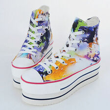New Womens Art Printed Heel High Top Platform Lace Up Fashion Sneakers Shoes