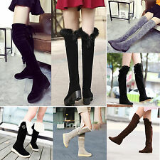 Ladies Women Hot Fashion Over Knee High Boots Suede Tall Boots Winter Warm Shoes