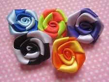 "40pcs Two Tone 1 1/8"" Satin Ribbon Rose Applique-5 Colors(U PICK) RF004-1"