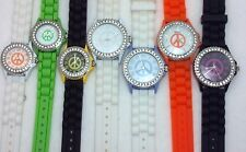 Geneva Water Resistant Women CZ Peace Symbol Elegant Crystal Silicone Band Watch