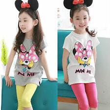 2pcs Mickey Mouse T-shirt Top Pants Trousers Kids Baby Girls Outfits Set Clothes