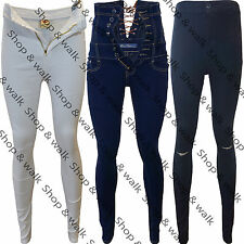 Womens Ladies High Waist Stretchy Skinny Tube Rip Trousers Pants Jeans Jeggings
