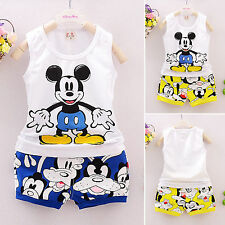 Baby Kid Boys Girls Summer Cartoon Mickey Top+Pants 2pcs Outfit Clothes Set 1-5Y