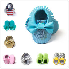 Baby Soft Sole PU Leather Shoes Boys Girls Infant Toddler Tassel Crib Moccasins