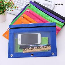 Zippered Binder Pencil Pouch with Rivet Enforced Hole 3 Ring Pencil Case 2pcs