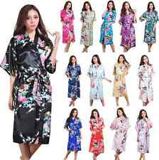 Fashion Women Kimono Robe Promotional Bride Long satin silk Night dressing Gown