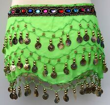 3Rows Coin Belly Dance Costume Hip Scarf Skirt Belt Dancing Wrap for KIDs Girls