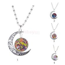 Trendy Flower Life Tree Crescent Moon Pendant Necklace Women Cabochon Jewelry