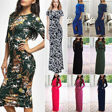 Sexy New Womens Short Sleeve Loose Cocktail Ladies Summer Party Long Maxi Dress