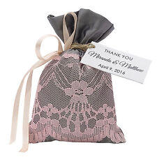 Satin Lace Drawstring Gift Pouch Favor Wedding Party Bag With Personalized Tags