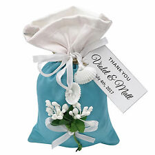 Satin Drawstring Gift Pouch Favor Bags Wedding Party With Personalized Tags