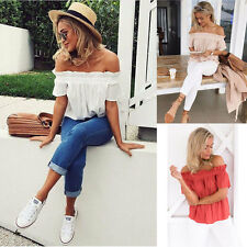 Fashion Lady Women Short Sleeve Blouse Off Shoulder Casual Tops Loose T Shirt