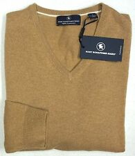 NWT $195 Hart Schaffner Marx 100% Cashmere V Neck Sweater Mens Size L NEW Tan