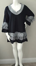 Velzera Boho Crochet Tiered Ruffle Lace Tunic Dress Black Plus 1XL 2XL 3XL New!