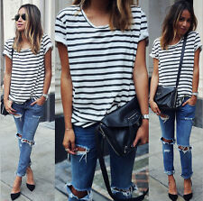 Summer Women Ladies Baggy Round Neck Short Sleeves Loose T-Shirt Blouses Tops
