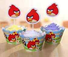 24/48pc Angry Birds Cartoon Wrappers Cupcake Toppers Muffins Kids Birthday Party