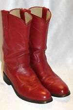 JUSTIN Red Leather ROPER Western Low Heel Riding Boots Sz 6