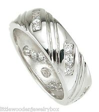8mm Solid 925 Sterling Silver Simulated Diamond Wedding Band Ring Mens Sz 8-12