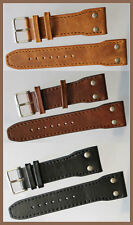 24mm 0.94in PILOT AVIATOR MILITARY STYLE LEATHER BAND BRACELET black brown