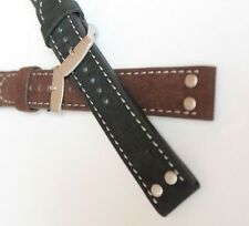 24mm PILOT AVIATOR MILITARY retro STYLE LEATHER/SUEDE BAND STRAP black/brown  WB