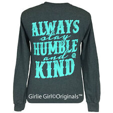 "Girlie Girl Originals ""Humble and Kind"" Dark Heather Long Sleeve Unisex Fit T-Sh"