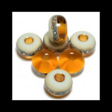 Handmade Glass Lampwork Beads Amber Silvered Pure Fine Silver 412160135531