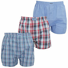Soho Collection Mens Navy Red Check Cotton Woven Boxers (Pack Of 3)
