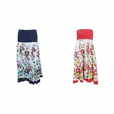 Womens/Ladies Floral Bandeau Midi 2 In 1 Summer Dress