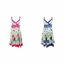 Womens/Ladies Bird And Flower Pattern Strappy Crossover Summer Dress