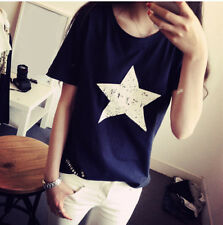 Ladies Women Summer Blouse New Loose Pentagram Casual Shirt Top Cotton