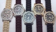 Geneva Women CZ Leopard Animal Print Elegant Crystal Silicone Strap Watch