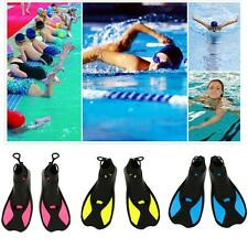 Adults Kids Swimming Snorkelling Training Short Fins Flippers - Blue/Yellow/Rosy