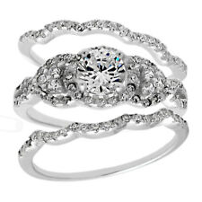 925 Sterling Silver 1.68 Carat CZ Engagement Ring 3-Piece Wedding Band Set
