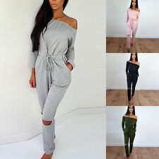 Women's Off Shoulder Evening Cocktail Playsuit Bodysuit Hollow Jumpsuit Romper