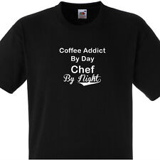 COFFEE ADDICT BY DAY CHEF BY NIGHT T SHIRT PERSONALISED COOKS TEE