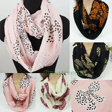 Fashion Dot Bow-knot  Print Soft Infinity Loop Cowl Eternity Circle Scarf New