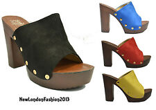Ladies Wooden High Block Heel Suede Mules Clog Shoes Sandals UK Size 3 4 5 6 7 8