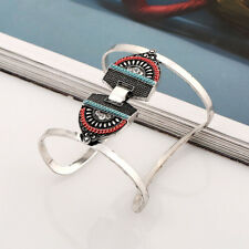 Ethnic Turquoise Women Cuff Bangle Bracelet Arm Bangle Turquoise Décor Jewelry