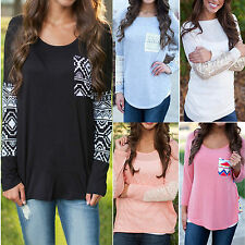 Fashion Womens Long Sleeve Round Neck Casual Tops Loose T-shirt Pullover Blouse