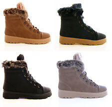 NEW LADIES WOMENS WINTER FAUX LEATHER WORKER ANKLE BOOTS SHOES TRAINERS SIZE 3-8