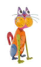 Cat Ornament Multi Coloured Bright Metal Sculpture 30cm Jazzy Junk Collection